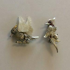 2 Vintage Costume Bird Pins